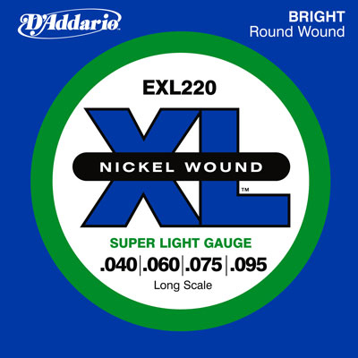 D'Addario Nickel Wound EXL220 Electric Bass (40-95)