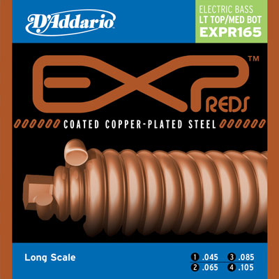 D'Addario EXPR165 Reds Coated Copper Electric Bass (45-105)